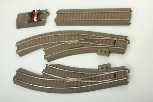 Marklin-H0-C-Petite-Rumpel-paquet-2-Aiguillage-courbe-amp-BUTOIR-boue-defaut