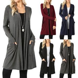 fa625077c4c Women s Cardigan Duster Long Sweater Long Sleeve Coat Jacket Plus ...