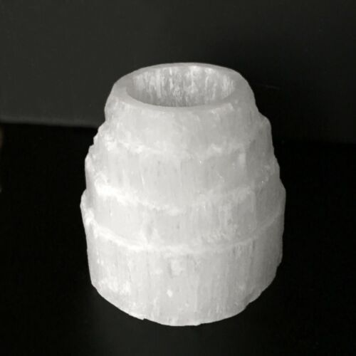 CHARGED Selenite Crystal Tower Candle Holder Protection Meditation Healing Aura