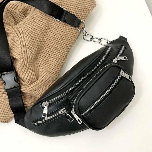 Black Women Men Waist Fanny Pack Phone Key Coin Purse Chest Bag Chain PU Leather