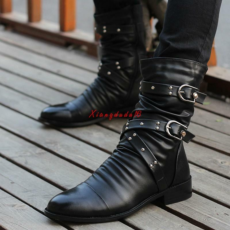 Fashion Mens Pointed Toe Ankle Boots Rivet Gothic Casual Winter shoes New