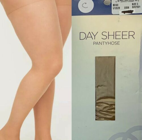 New Catherines  Day Sheer Pantyhose Ribbed Panty Beige Sizes  B C D E F