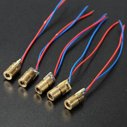 5Pcs 650nm 6mm 5V 5mW Mini Laser Dot Diode Modul Kupfer Kopf Halbleiter NEU