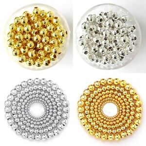 Bulk-Smooth-Gold-amp-SILVER-PLATED-Metal-Round-SPACER-BEADS-4mm-5mm-6mm-8mm-Y1