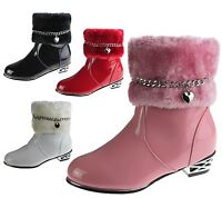 Girls Fur Lined Boots Kids Winter Warm Fancy Party High Top Patent Ankle Shoes