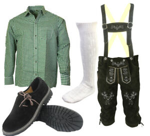 Herren-Trachten-Lederhose-Trachtenset-Bayerische-Trachtenhose-Hemd-Schuhe-S4