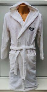 Image is loading EMPORIO-ARMANI-EA7-Chest-Logo-White-Hooded-Robe- 3fc957165