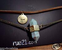 Women's Rue21 Etc Double Necklace Turquoise 'love' Pendant