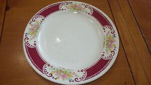 "Homer Laughlin Dinner Plate B1315 vintage 194110"" Maroon and floral dinner plate"