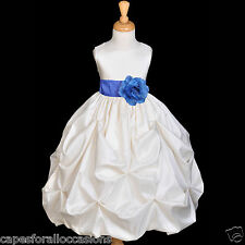 IVORY BUBBLE PICK-UP WEDDING FORMAL KID FLOWER GIRL DRESS 12-18M 2/3T 4/5 6 8 10