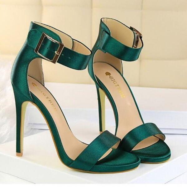 FrauenSandaleeen 11.3 cm elegant Stilett grün hoch simil Leder CW697