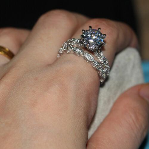 round diamond bridal engagement ring set 1.50carat 14k white gold over jewellery