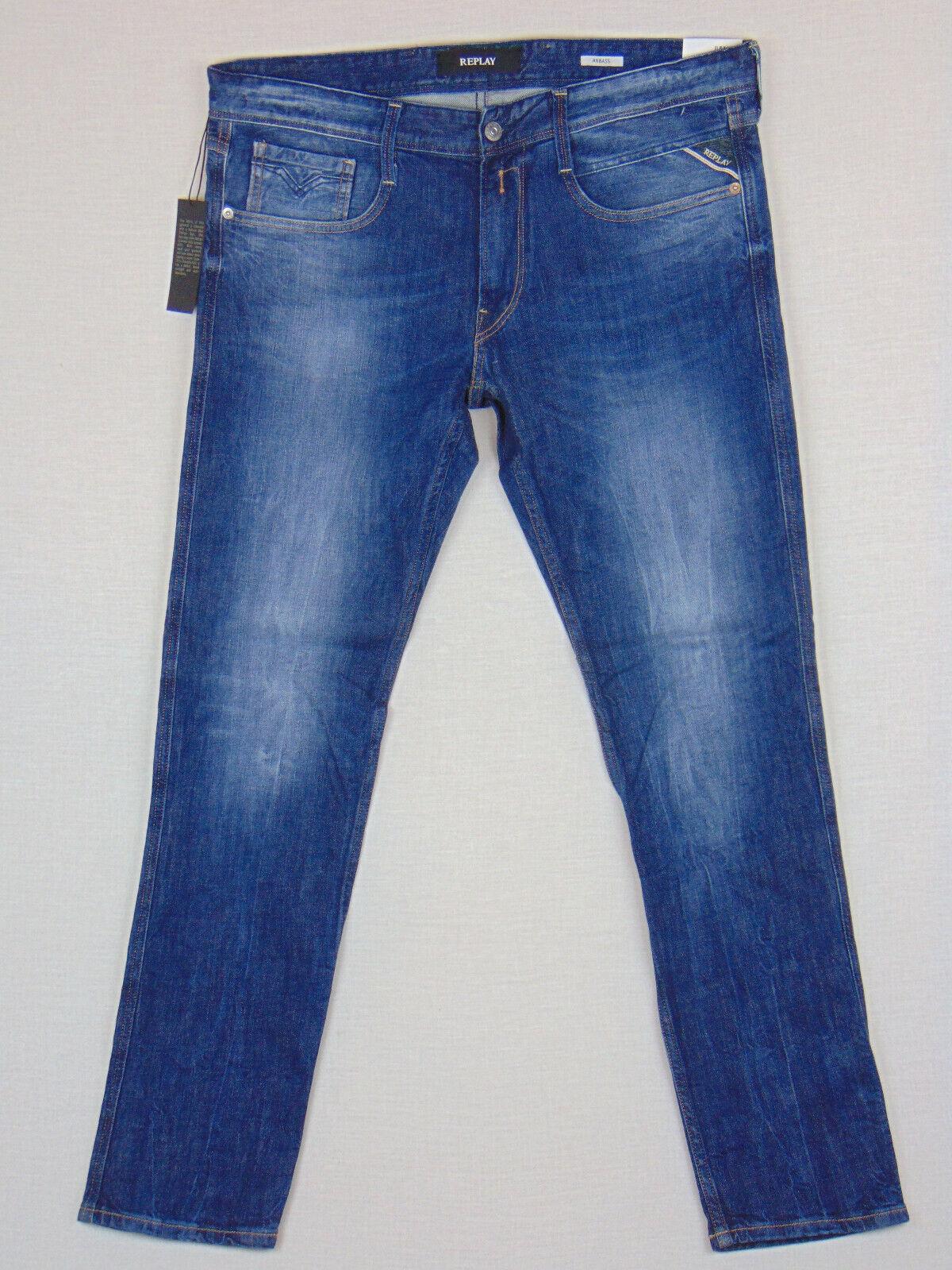 bce6ba7c Replay ANBASS Fit W34 L32 RRP Mens bluee Comfort Denim Jeans Slim  nozxhn9760-Jeans