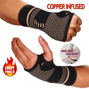 Copper-Wrist-Hand-Brace-Carpal-Tunnel-Support-Splint-Fit-Arthritis-Sprain-Pain-S