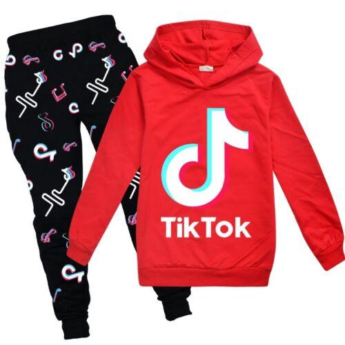Kids Boy Girl Tik Tok Hoodies Sweatshirt Hooded Pullover Outfit Clothes Set Tops