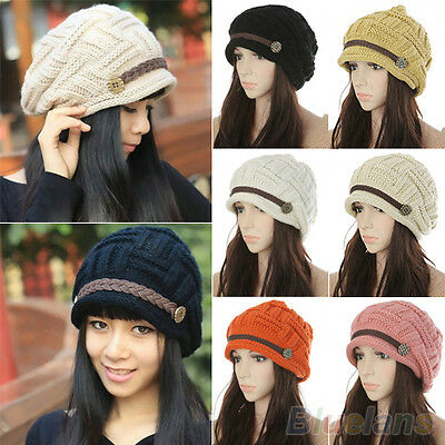 Women's New Popular Braided Winter Warm Baggy Beanie Knit Crochet Ski Hat Cap