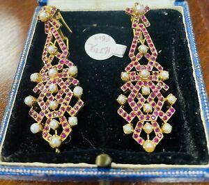 Fabulous Large 18ct Gold Drop Ruby & Pearl Earrings 22g
