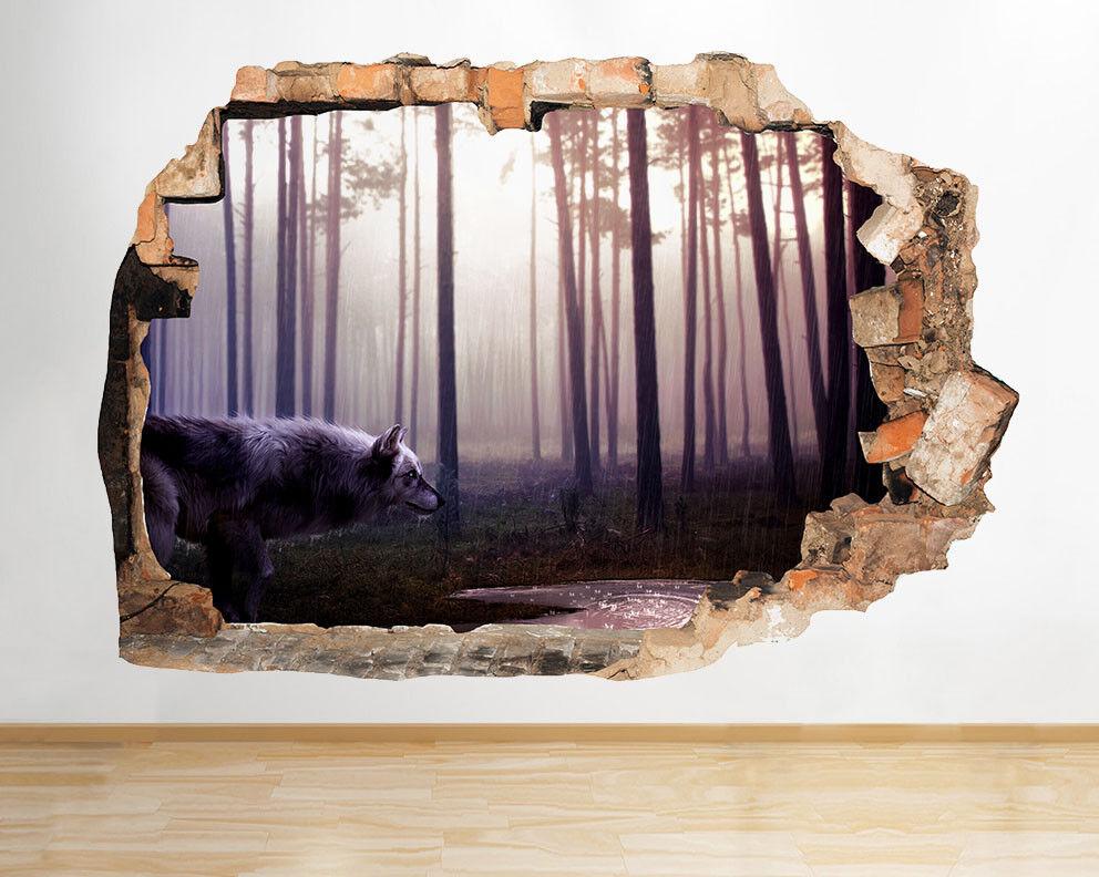D935 Loup Rain Forest animaux Salle Smashe Autocollant Chambre 3D Vinyle enfants