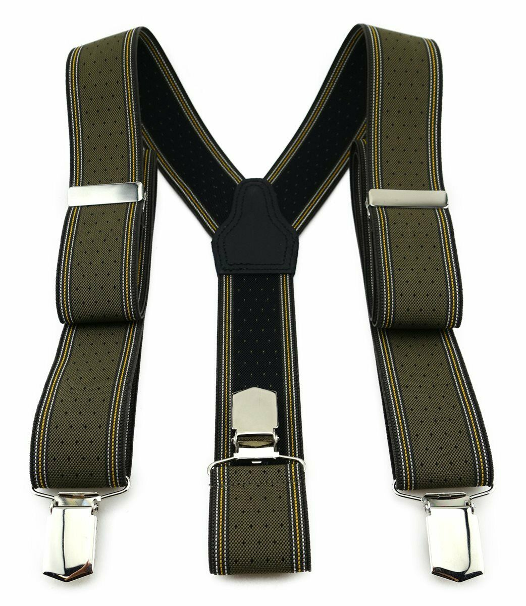 Tigertie Unisex Braces with 3 EXTRA STRONG CLIPS-Olive Gold Silver