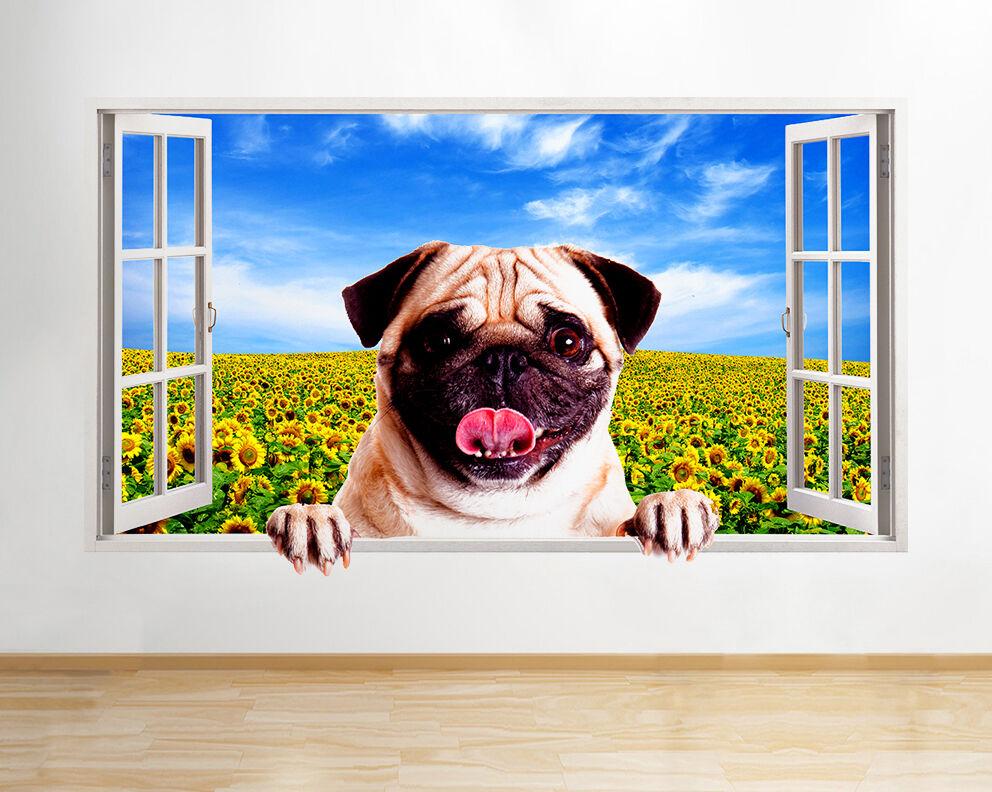 Q521 Pug Girasoli Sun Dog Bedroom Window  adesivo da parete camera bambini