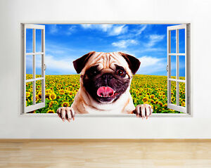 10db2b57c98 Image is loading Q521-Pug-Sunflowers-Sun-Dog-Bedroom-Window-Wall-
