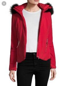 5144031f48d1f Spyder Women s Posh Real Fur Jacket 154004 Red Vampire Size 6 NWT ...