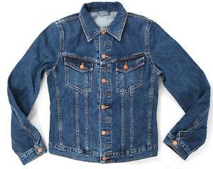 Nudie-senores-Denim-Jeans-chaqueta-Billy-org-worn-Clean-slim-fit-S-M-L
