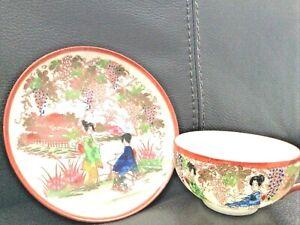 Japanese Meiji Period Porcelain Tea Cup & Saucer Funakoshi