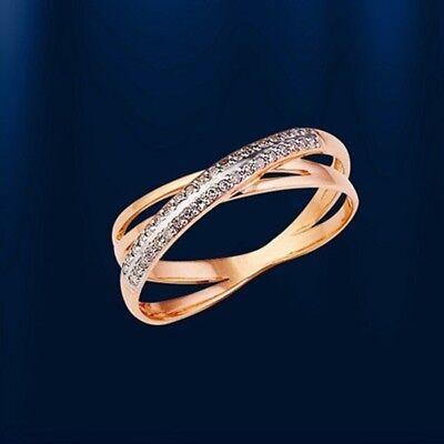 Russische Rose Gold 585 Goldring Ring mit Diamanten Niedlich NEU