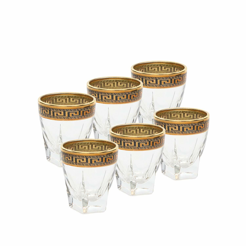 Italian Collection Crystal 2.5 Oz Liquor Shot Vodka Glasses, 24K gold Rim