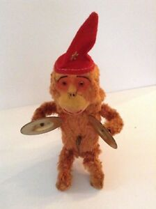 VINTAGE-WIND-UP-MONKEY-PLAYING-CYMBAL-039-S-TOY-1950-039-S-ALPS-JAPAN