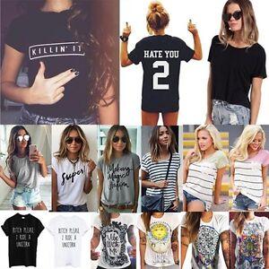 New-Fashion-Women-Summer-Casual-Basic-T-Shirt-Lady-Short-Sleeve-Blouse-Tank-Tops