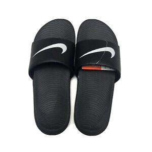 Details about Nike Kawa Slide Mens Size 10 Black And White Swoosh Logo  Comfort