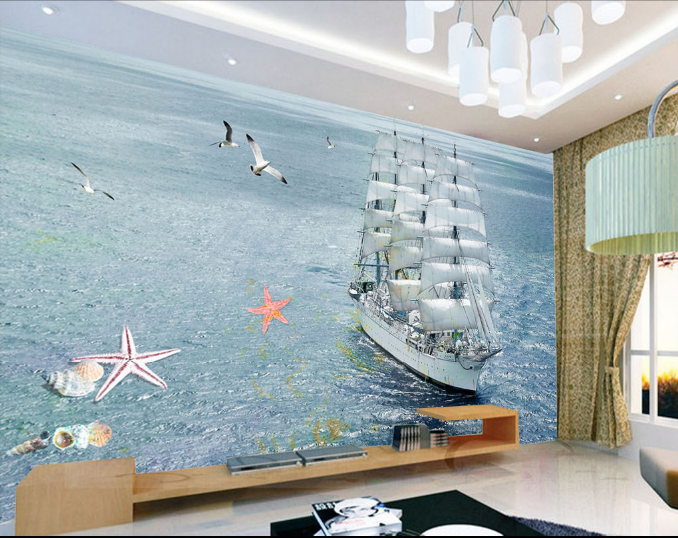 3D Weiß Sailboat Starfish Paper Wall Print Wall Decal Wall Deco Indoor Murals
