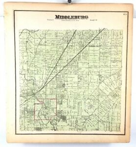 1874 Hand Colored Map Of Cuyahoga Cleveland Ohio Middleburg Town