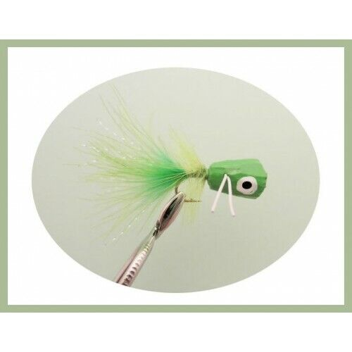 Bass or Large Trout Size 10 Fly Fishing Poppers 4 Chartreuse Fishing flies