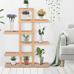 6-Tiers Slatted Bamboo Shelf Display Shelf Storage Rack Standing Shelf Natural