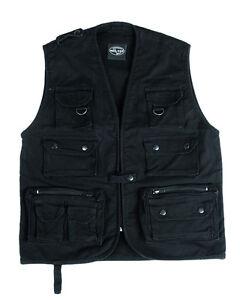 Hunting Vest Fishing Vest Outdoor Vest Moleskin Hiking Vest Black Size M