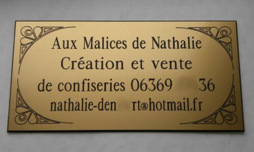 embellishments Custom door etched plaque 3 to 4 lines format 75 x 150 mm