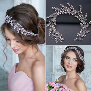 Image is loading Vintage-Wedding-Bridal-Pink-Crystal-Pearl-Prom-Headbands- a62541a842d
