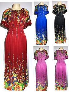 Womens Casual Evening Party Floral Bell Sleeve Short Sleeve Boho Maxi Long Dress