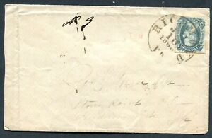 Confederate States 1863 - Jefferson Davis, 10c blue (TEN) on envelope
