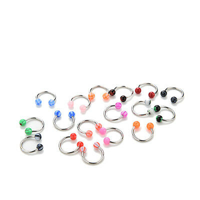 Glossy 10/20X Eyebrow Lip Tongue Nose Navel Belly Button Studs Body Piercing FTU