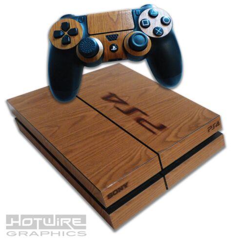 Playstation-4-PS4-Skin-Sticker-Kit-Wood-Grain-Burnished-Stamp-Effect