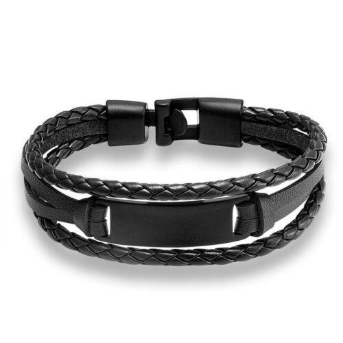 Fashion Hommes Cuir Bracelet Bracelet en Cuir Véritable Chaîne à main Amitié LUXE