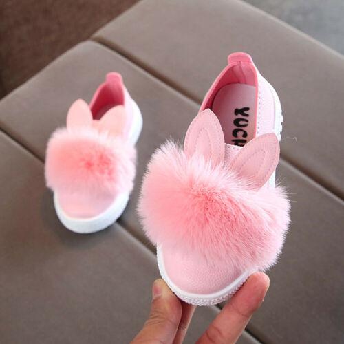 Children Toddler Infant Fur Sneaker Girls Cute Bunny Soft Anti-slip Single Shoes