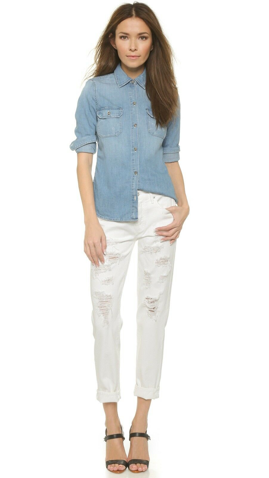 185 NWT Mother The Loosey Destroyed Boyfriend Jeans In Party Crashers Off White