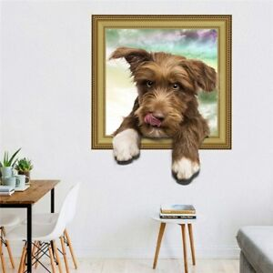 Details About 3d False Window Dog Wallpaper Hole View Vivid Living Room Home Decor Wall Decals