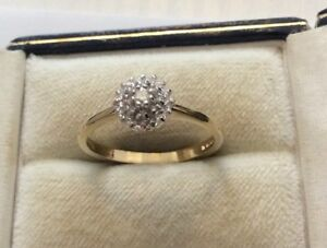 5ad20c40cc82a Details about Beautiful Ladies Hallmarked Solid 9 Carat Gold approx 1/4  carat Diamond Ring - P