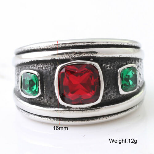 Stainless Steel Green Red Crystal Ring for Men Women Bohemia Retro Jewelry Band